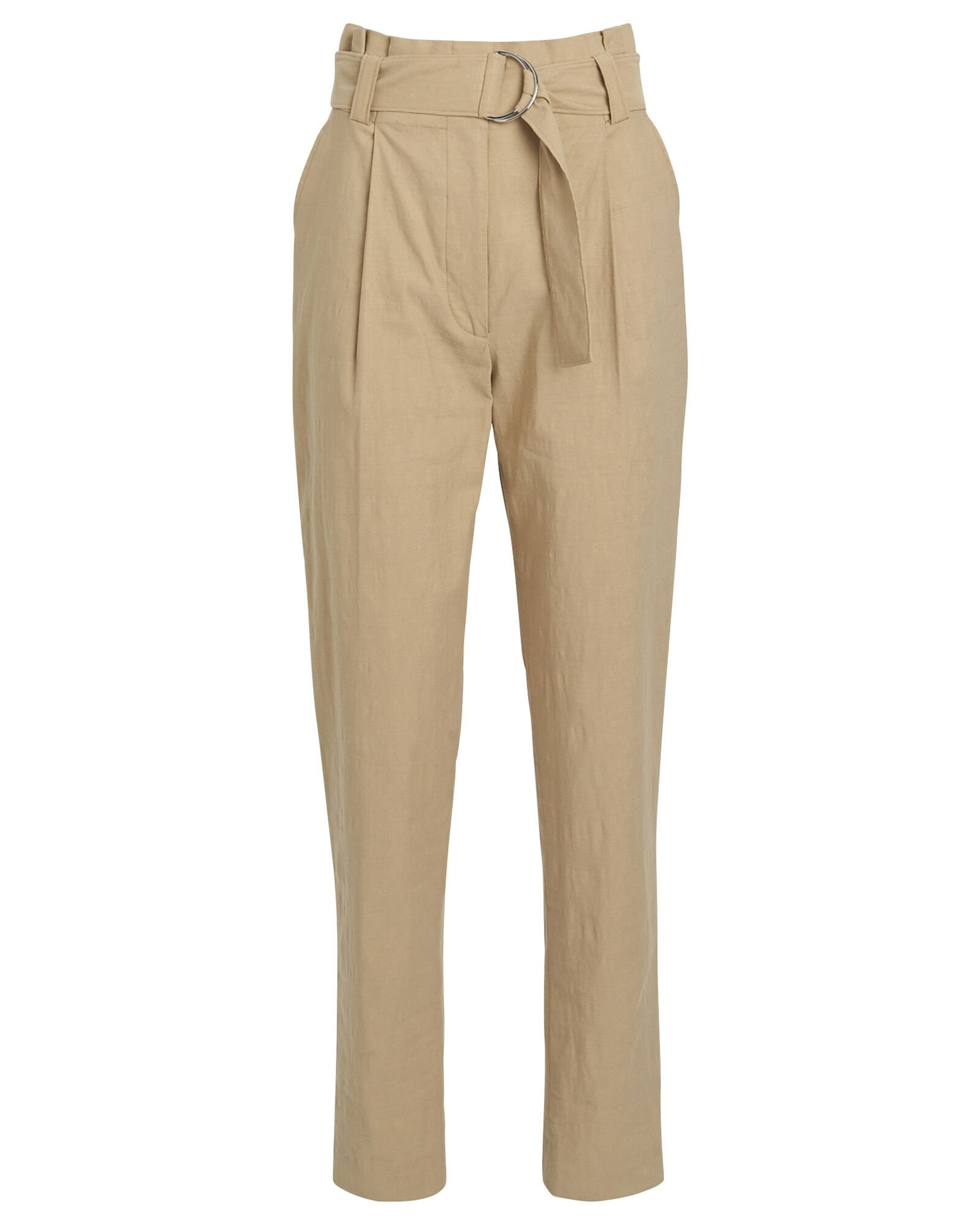 Diego Tapered Paperbag Trousers, KHAKI, hi-res