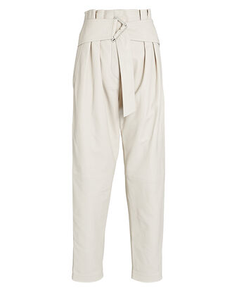 Husvik Leather Paperbag Pants, IVORY, hi-res