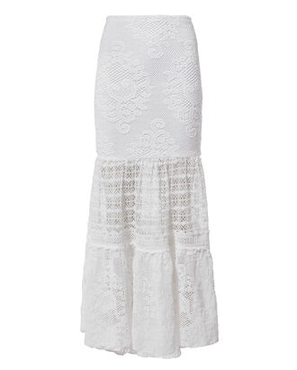Crochet Maxi Skirt, WHITE, hi-res