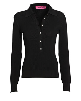 Swarovski-Embellished Polo Top, BLACK, hi-res