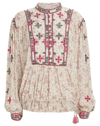 Ivayo Embroidered Floral Blouse, BEIGE, hi-res
