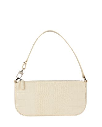 Rachel Croc-Embossed Leather Baguette, WHITE, hi-res