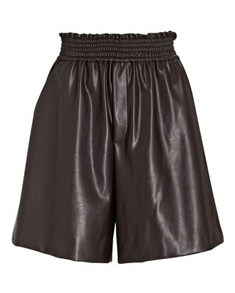 Kaleb Vegan Leather Shorts, DARK BROWN, hi-res