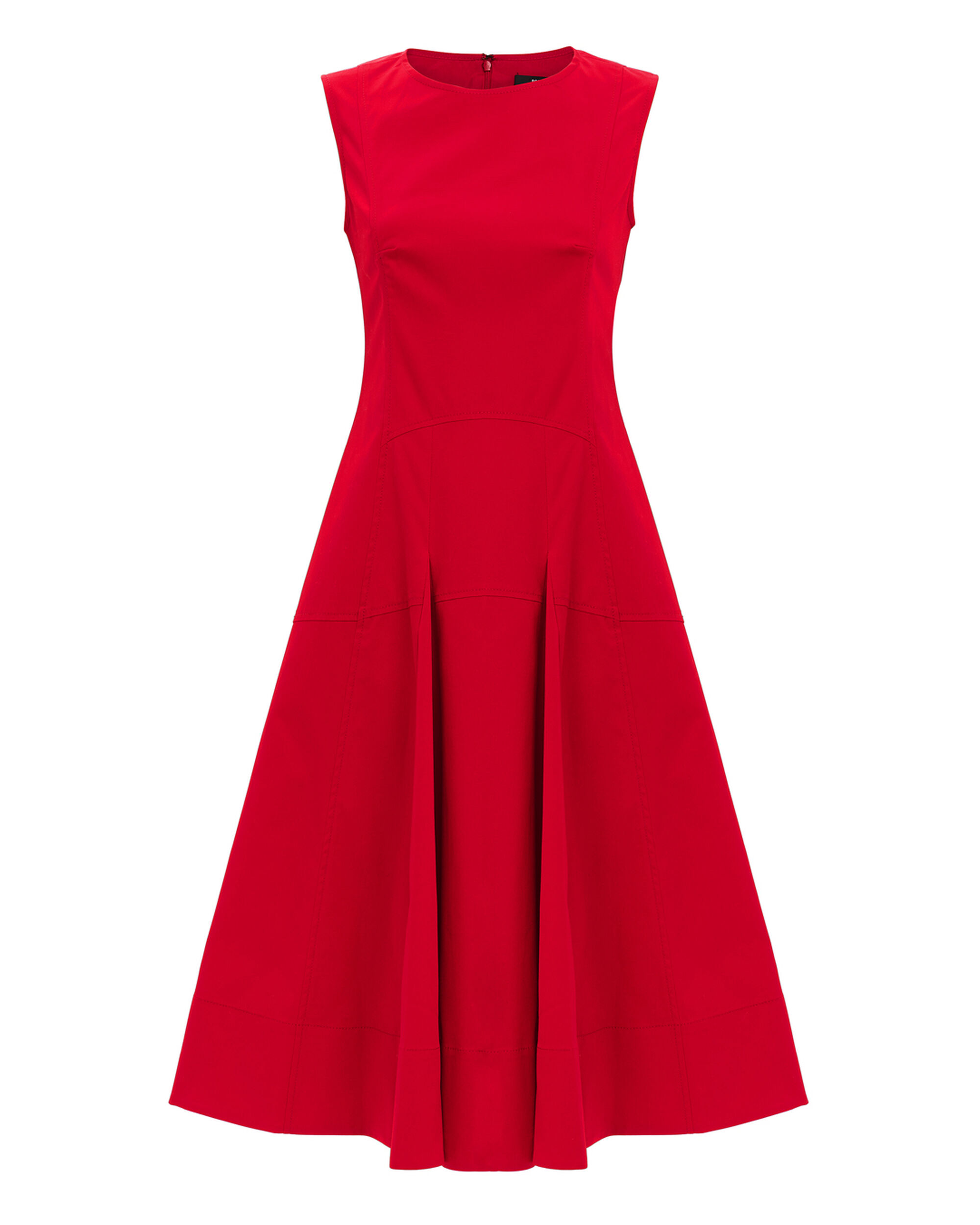 Fit-And-Flare Red Midi Dress, RED, hi-res
