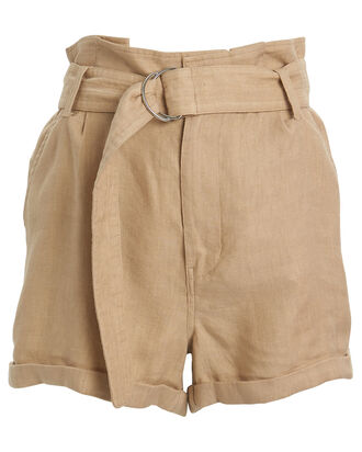 Paperbag High-Rise Canvas Shorts, SAND, hi-res