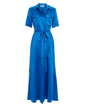 Klement Silk Shirt Dress, BLUE-MED, hi-res