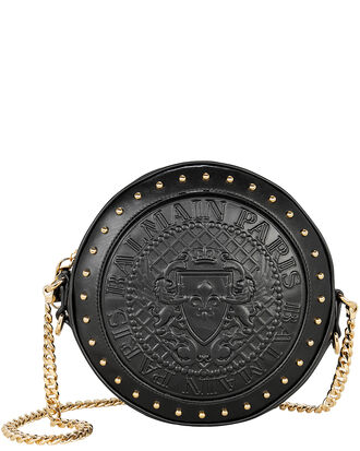 Disco Studded Black Circle Crossbody Bag, BLACK, hi-res