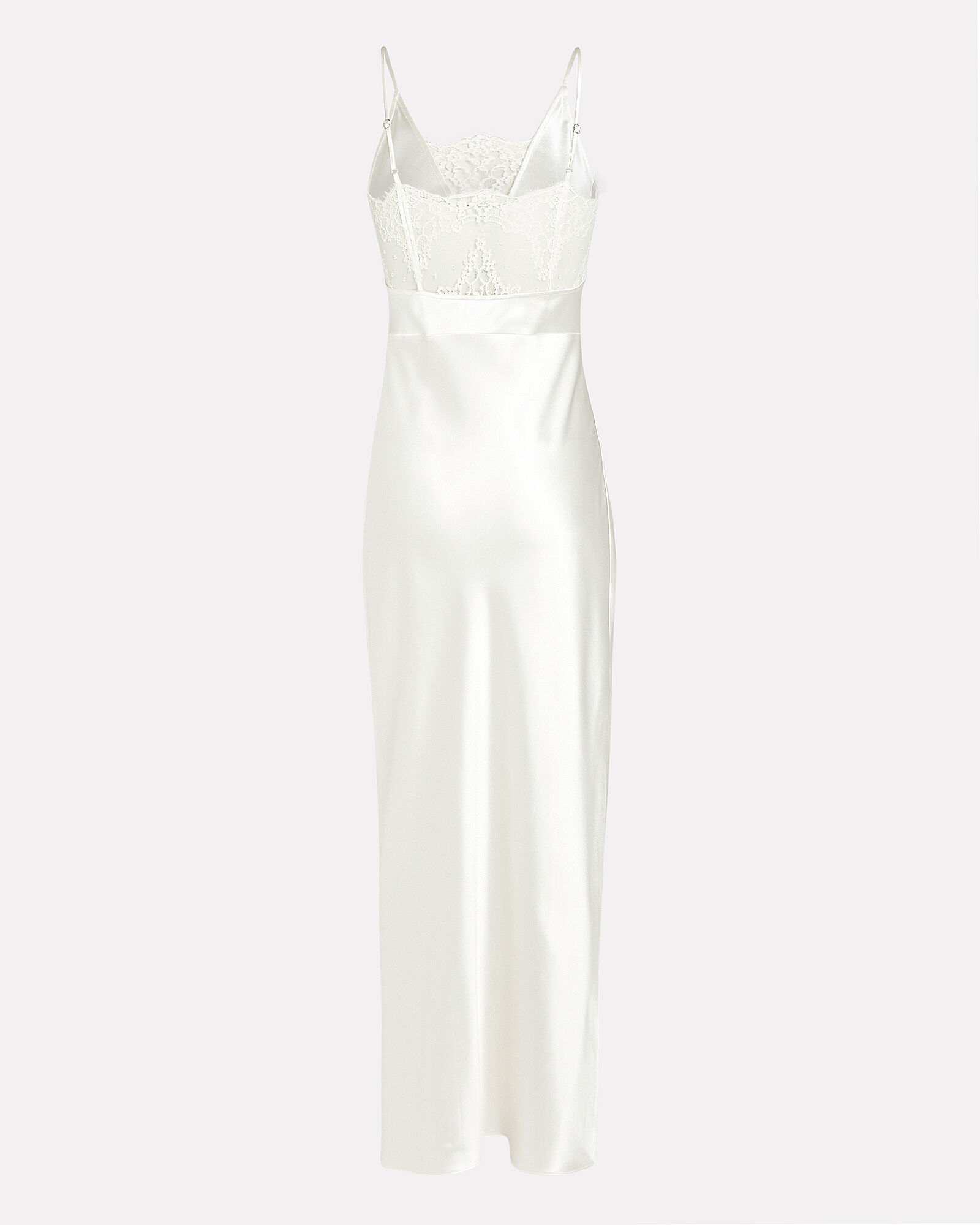Silk Lace-Trimmed Slip Gown, IVORY, hi-res