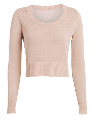 Eugenia Crew Cropped Sweater, BLUSH, hi-res