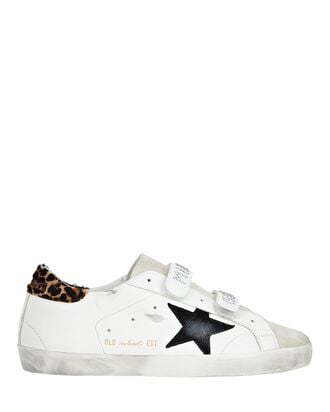 Old School Leather Low-Top Sneakers, WHITE, hi-res