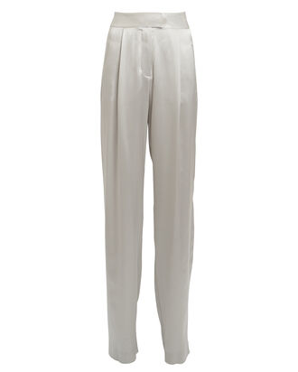 Silk Charmeuse Wide Leg Trousers, PLATINUM, hi-res