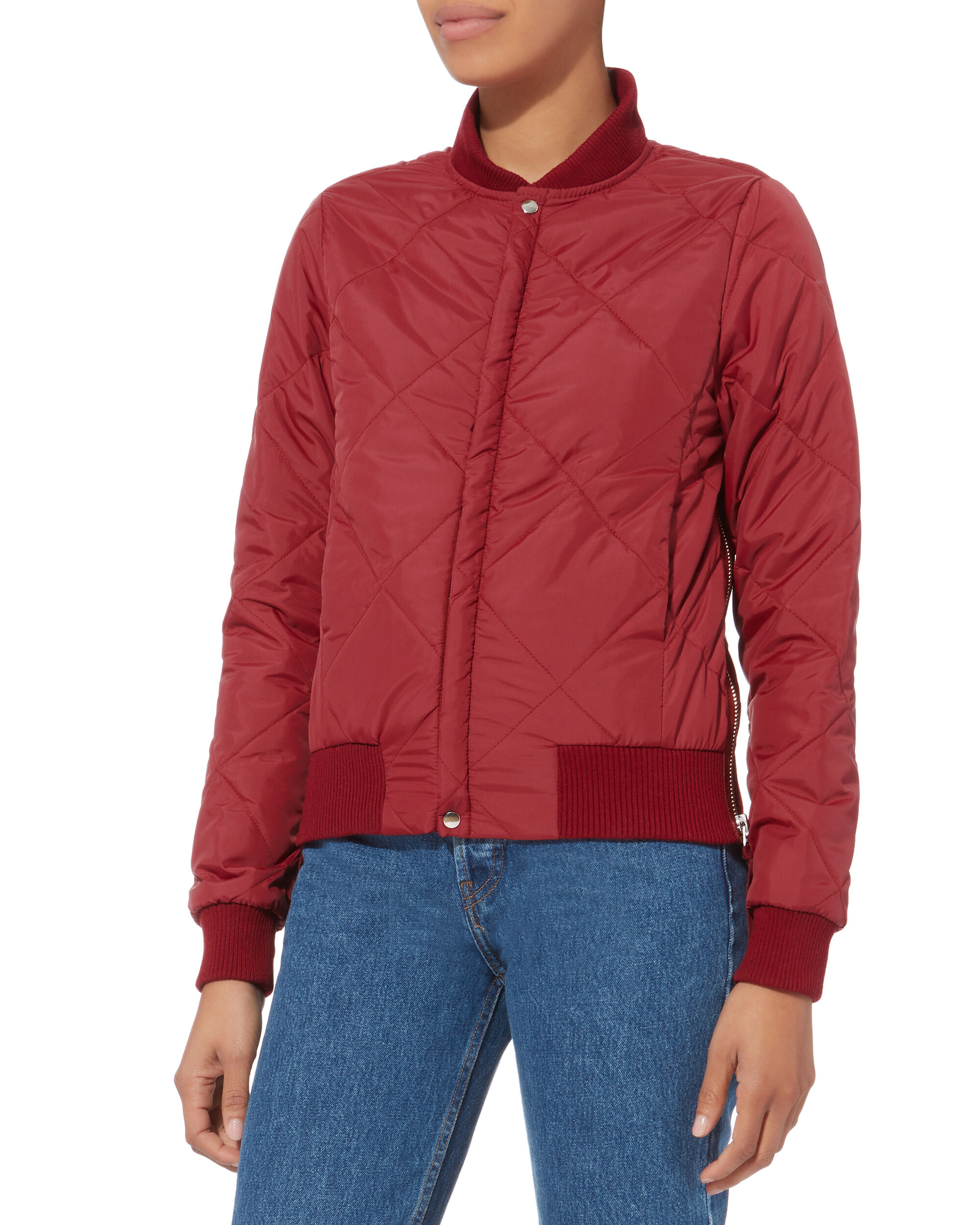 Neil Scarlett Quilted Bomber Jacket, RED, hi-res