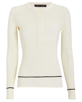 Silk & Cashmere Knit Henley Top, IVORY, hi-res