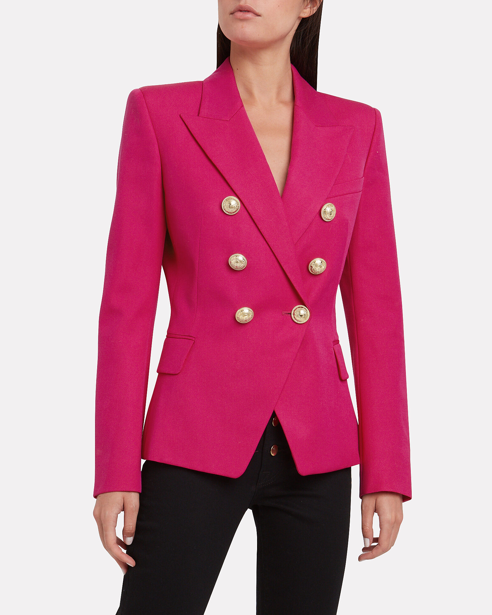 Double Breasted Wool Blazer, PINK, hi-res