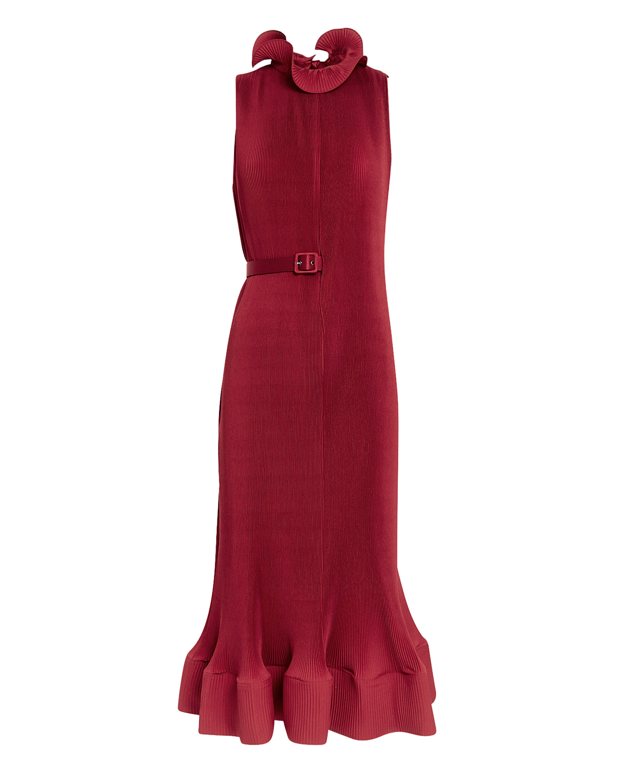 Red Pleated Dress, RED, hi-res