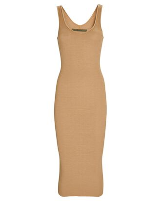 Silk Rib Tank Midi Dress, BEIGE, hi-res