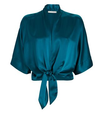 Tie Front Silk Blouse, TURQUOISE, hi-res