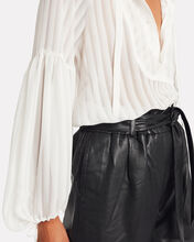 Hesitate Striped Georgette Blouse, WHITE, hi-res