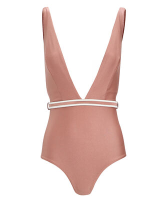 Deep Plunge One-Piece Swimsuit, BLUSH, hi-res