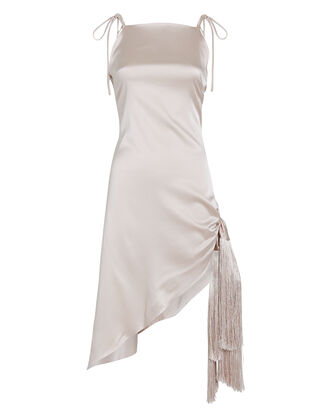 Giselle Asymmetric Silk Dress, BEIGE, hi-res