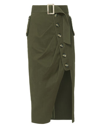 Military Button-Down Skirt, GREEN, hi-res