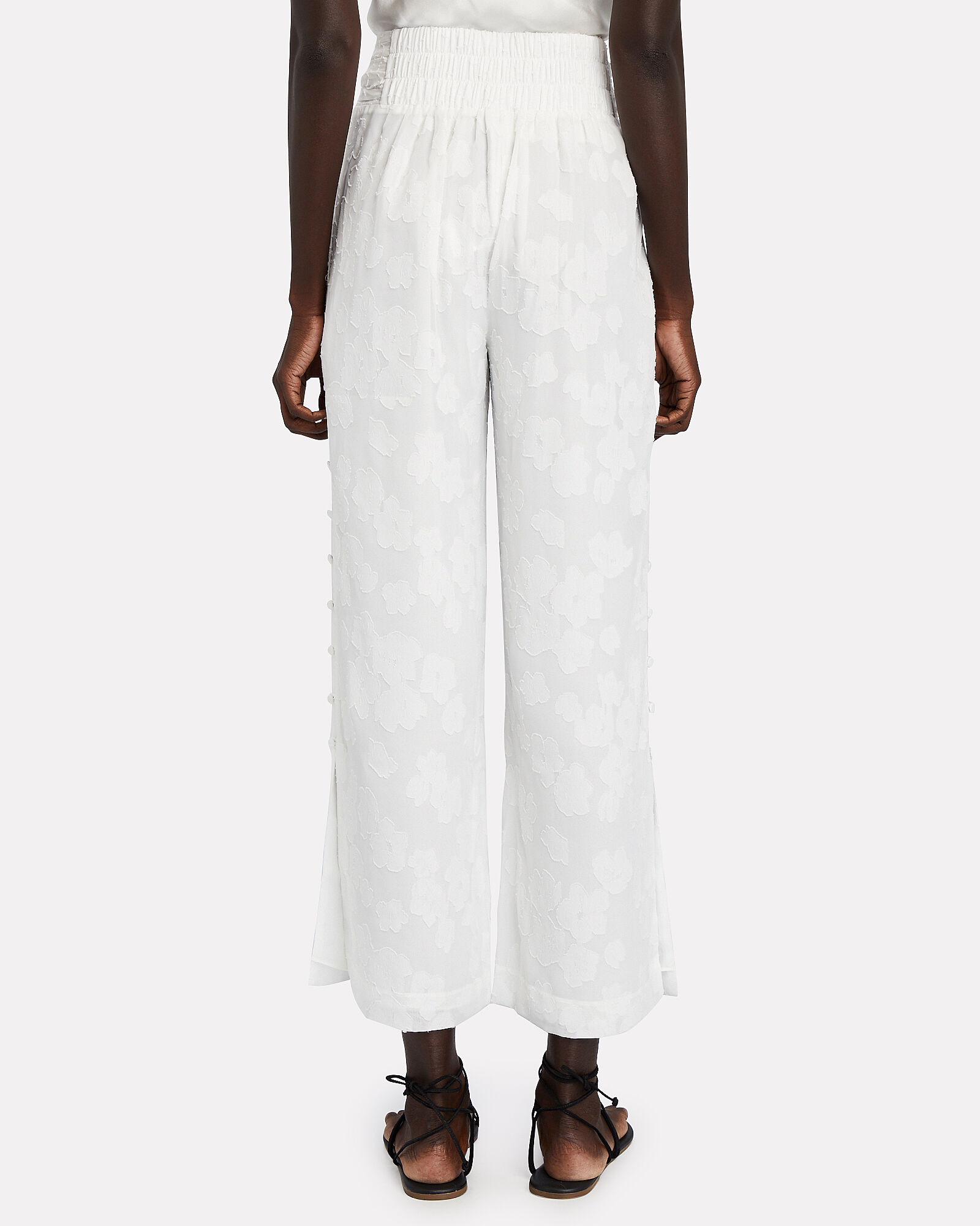Floral Wide-Leg Trousers, WHITE, hi-res