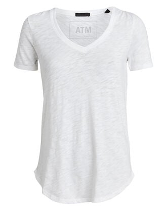 Slub Cotton V-Neck T-Shirt, WHITE, hi-res