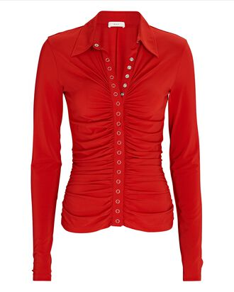 Larsen Ruched Polo Top, RED, hi-res