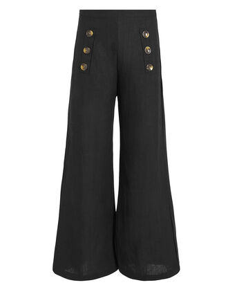 Adita Linen Trousers, BLACK, hi-res