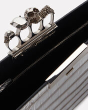 Skull Four Ring Embossed Clutch, SILVER, hi-res