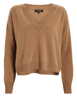 Elroy V-Neck Cashmere Sweater, HONEY, hi-res