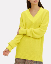 Airy V-Neck Sweater, YELLOW, hi-res