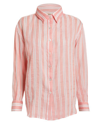 Doro Striped Button Front Shirt, PINK/STRIPE, hi-res