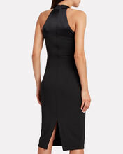 Charmeuse-Trimmed Sheath Dress, BLACK, hi-res
