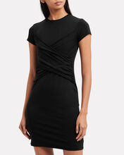 Pima Cotton Twisted Dress, BLACK, hi-res
