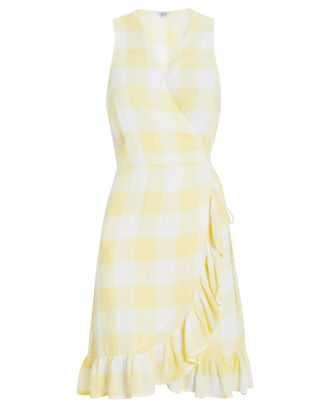 Madison Wrap Dress, YELLOW/GINGHAM, hi-res