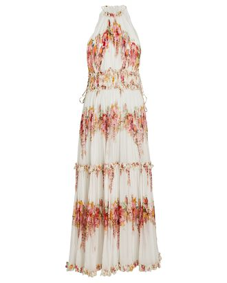 Mae Pleated Floral Midi Dress, IVORY/PINK, hi-res