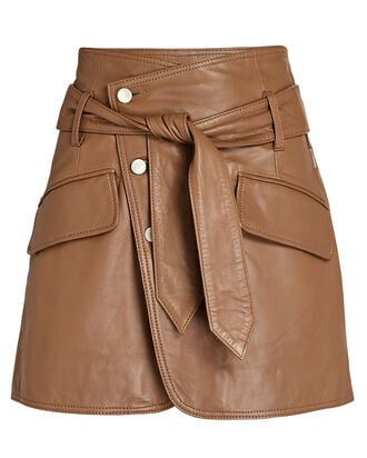 Katrina Leather Mini Skirt, LIGHT BROWN, hi-res