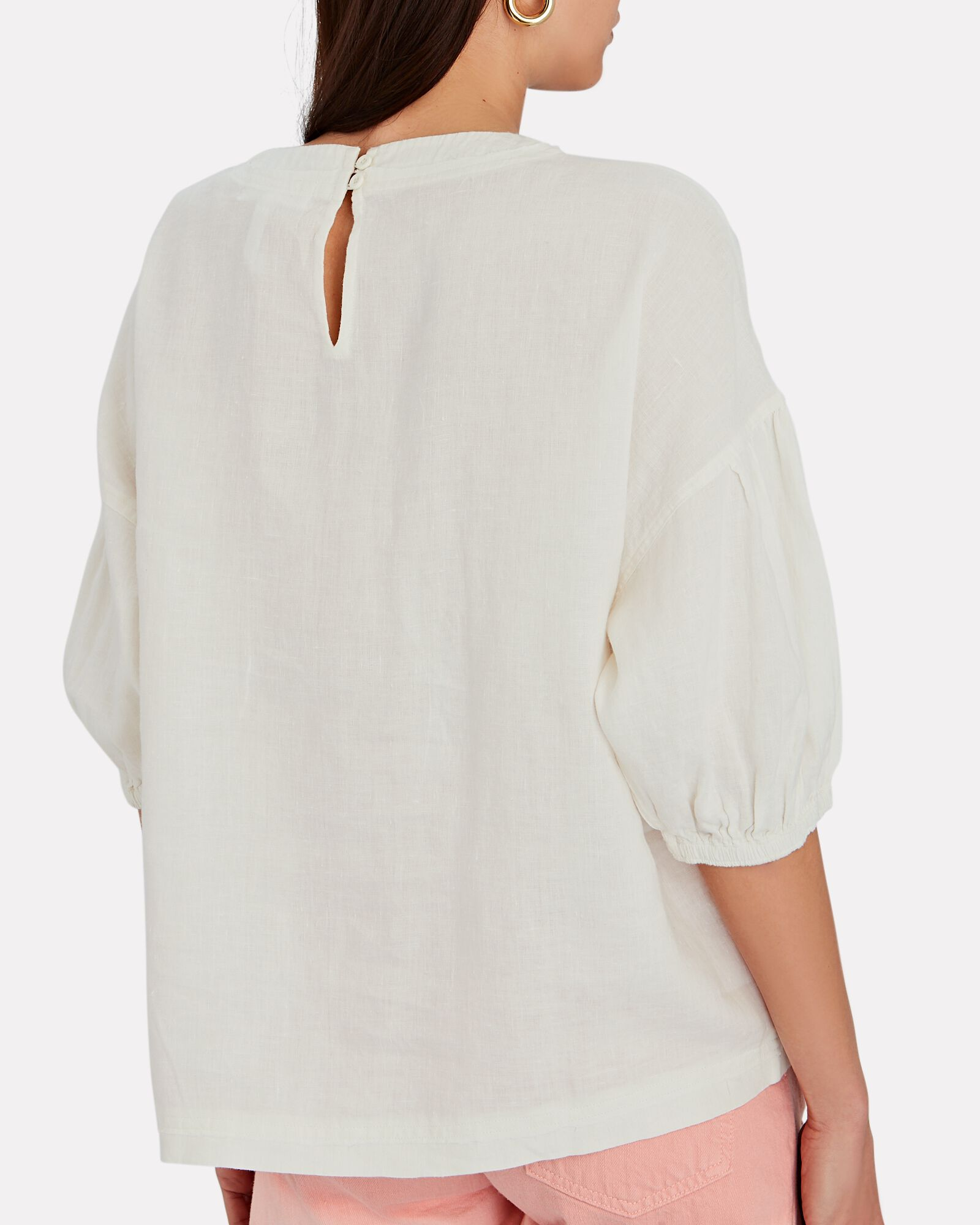 Delle Linen Puff Sleeve Top, WHITE, hi-res