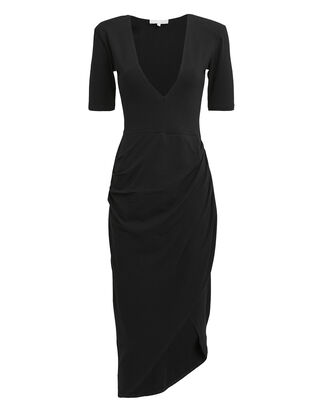 Deep-V Midi Dres, BLACK, hi-res