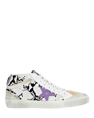 Mid Star Snake Print Sneakers, WHITE/BLACK, hi-res