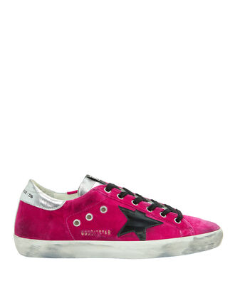Superstar Pink Velvet Low-Top Sneakers, PINK, hi-res