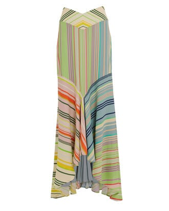 Beverly Silk Striped Mermaid Skirt, MULTI STRIPE, hi-res