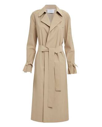 Tie Waist Trench Coat, BEIGE, hi-res