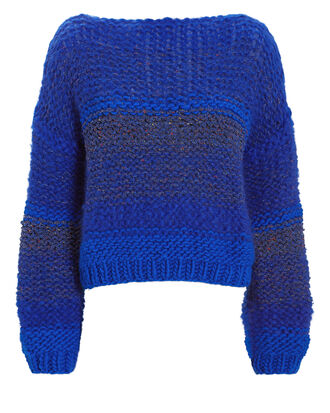 Tweed-Look Blue Sweater, BLUE, hi-res