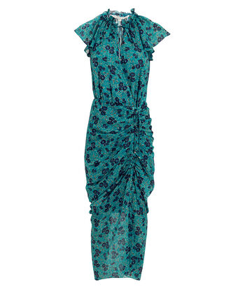 Brynlee Gardenia Midi Dress, TURQUOISE/FLORAL, hi-res