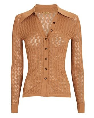 Meryl Pointelle Knit Polo Top, BEIGE, hi-res