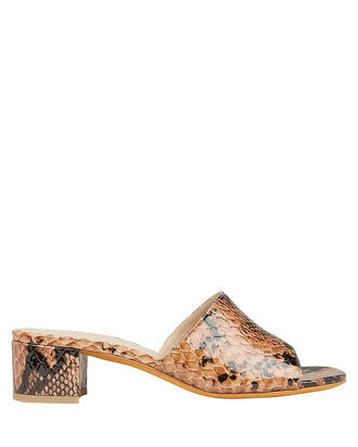 Agatha Snakeskin Embossed Sandals, BROWN/BLACK, hi-res