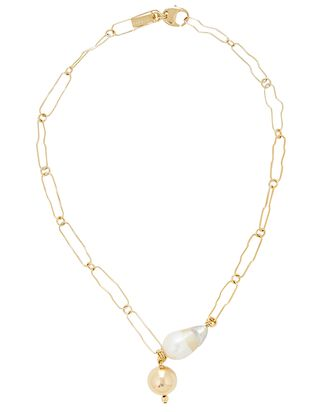 Pagoda Chain-Link Pearl Necklace, GOLD, hi-res
