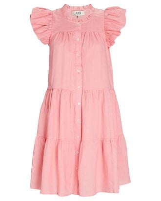 Shannon Scalloped Shirt Dress, PINK, hi-res